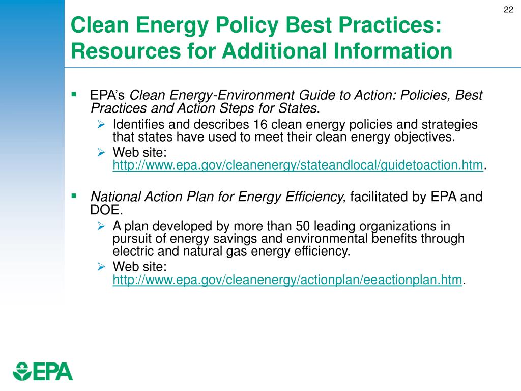 Clean Energy Policy Best Practices: