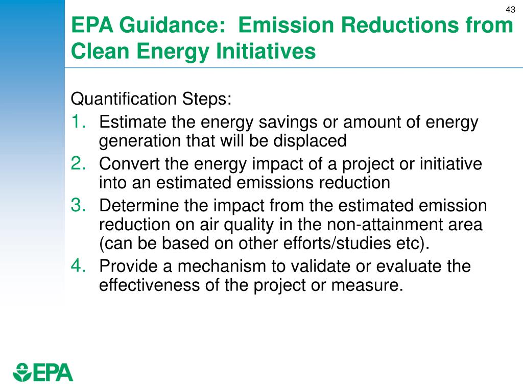 EPA Guidance:  Emission Reductions from Clean Energy Initiatives