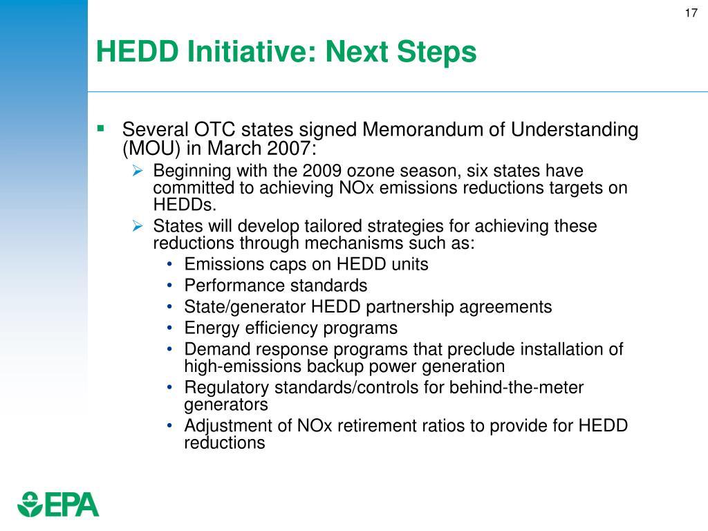 HEDD Initiative: Next Steps