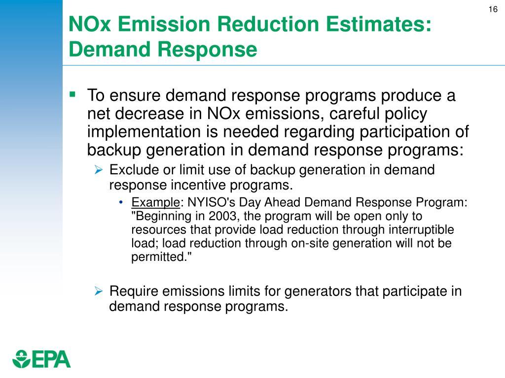 NOx Emission Reduction Estimates: Demand Response