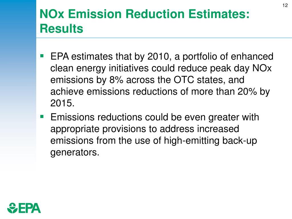 NOx Emission Reduction Estimates: Results
