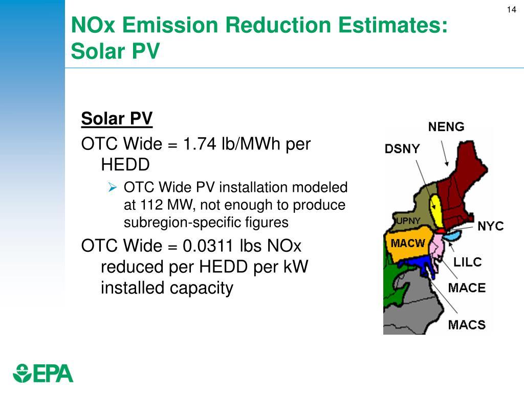 NOx Emission Reduction Estimates: