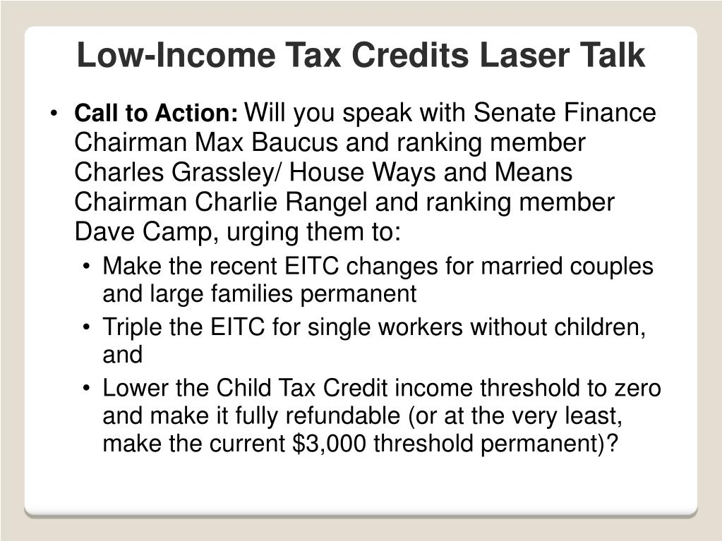 Low-Income Tax Credits Laser Talk