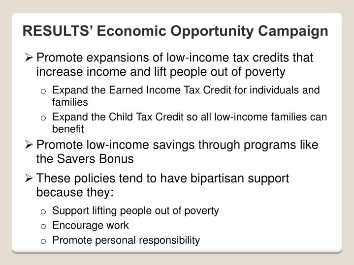 RESULTS' Economic Opportunity Campaign