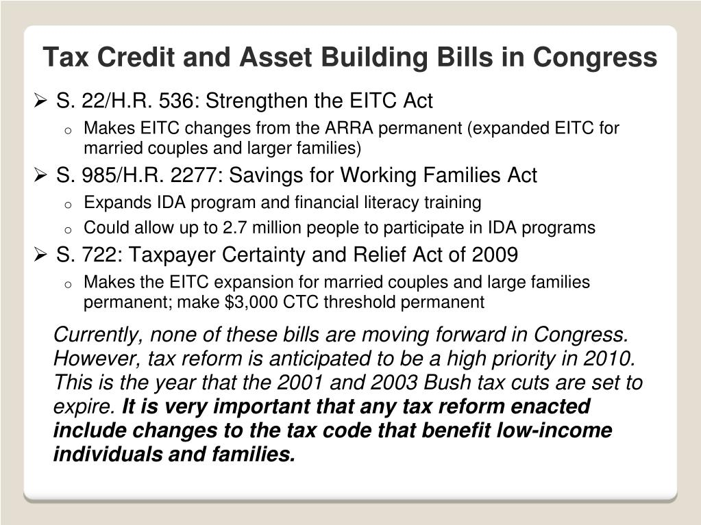 Tax Credit and Asset Building Bills in Congress
