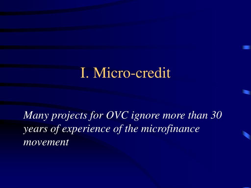 I. Micro-credit