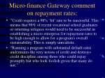 micro finance gateway comment on repayment rates