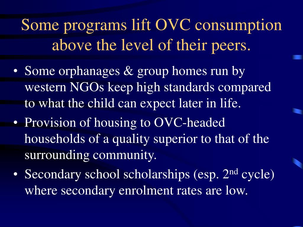 Some programs lift OVC consumption above the level of their peers.