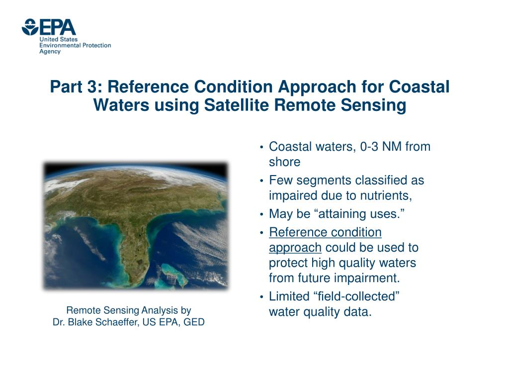 Part 3: Reference Condition Approach for Coastal Waters using Satellite Remote Sensing