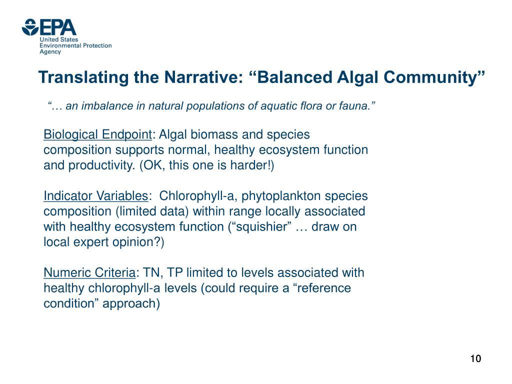 "Translating the Narrative: ""Balanced Algal Community"""