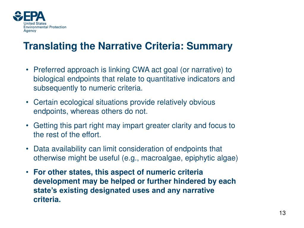 Translating the Narrative Criteria: Summary