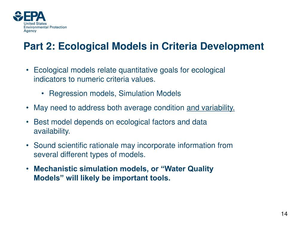 Part 2: Ecological Models in Criteria Development
