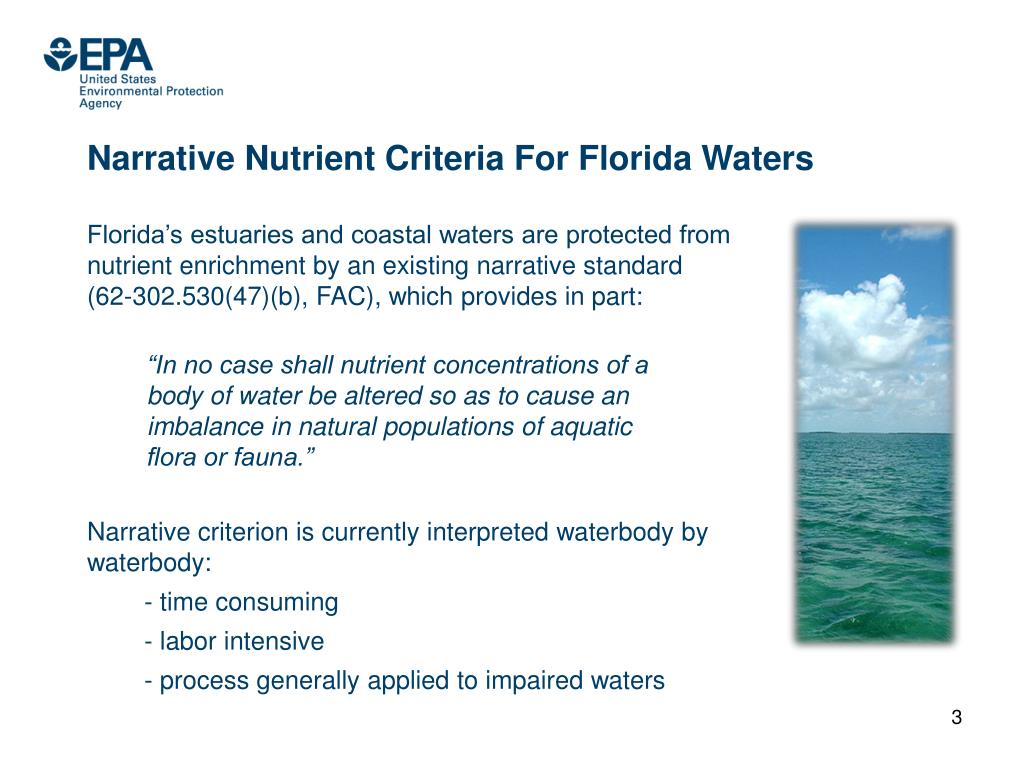 Narrative Nutrient Criteria For Florida Waters