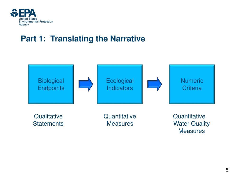 Part 1:  Translating the Narrative