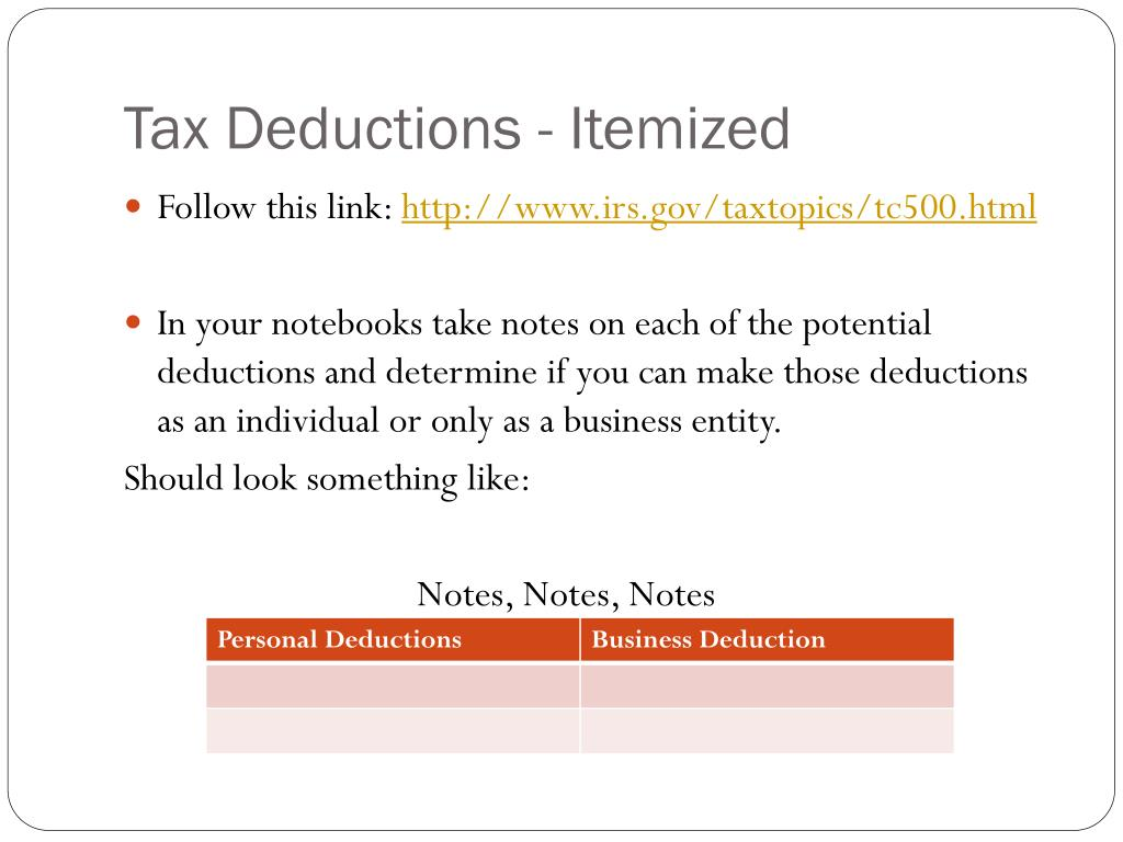 Tax Deductions - Itemized