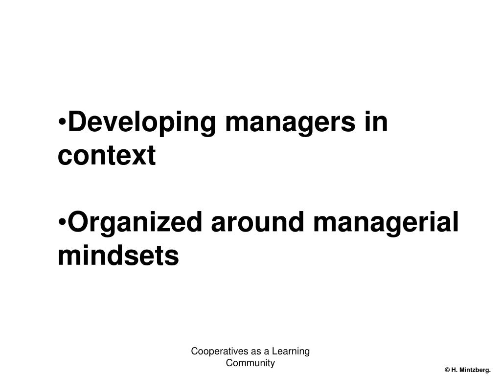 Developing managers in context