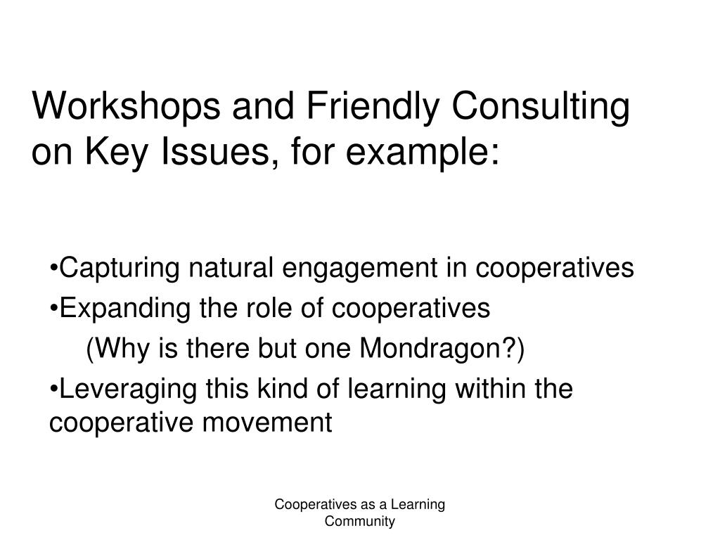 Workshops and Friendly Consulting