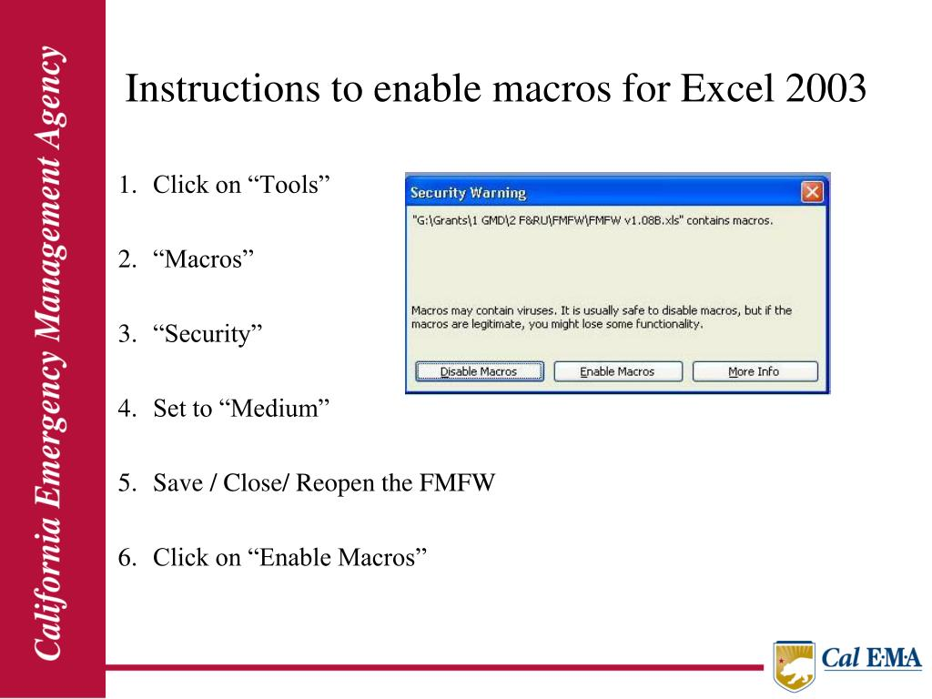 Instructions to enable macros for Excel 2003