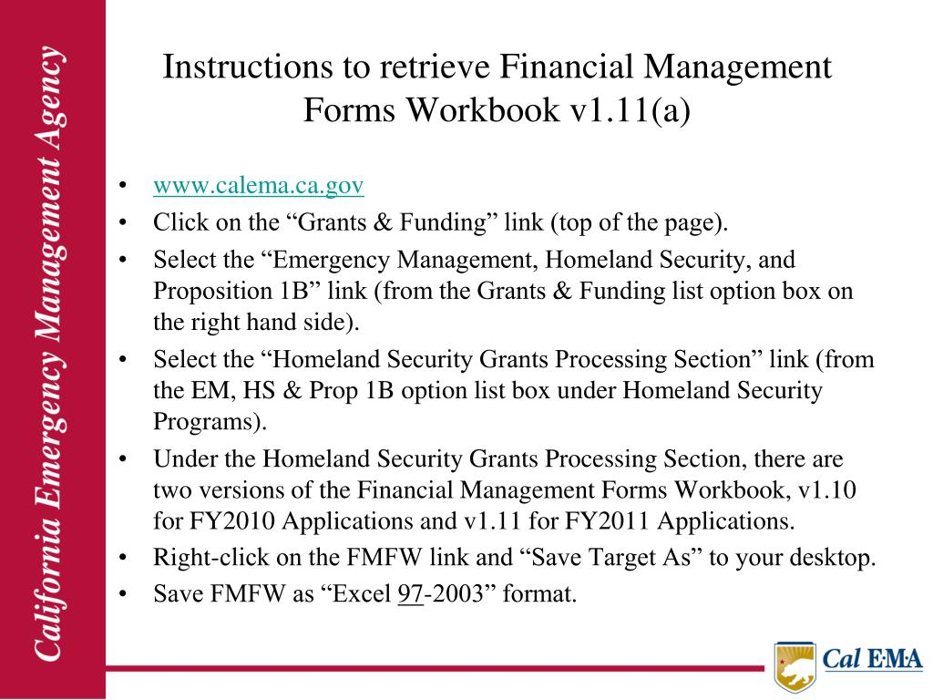 Instructions to retrieve Financial Management Forms Workbook v1.11(a)