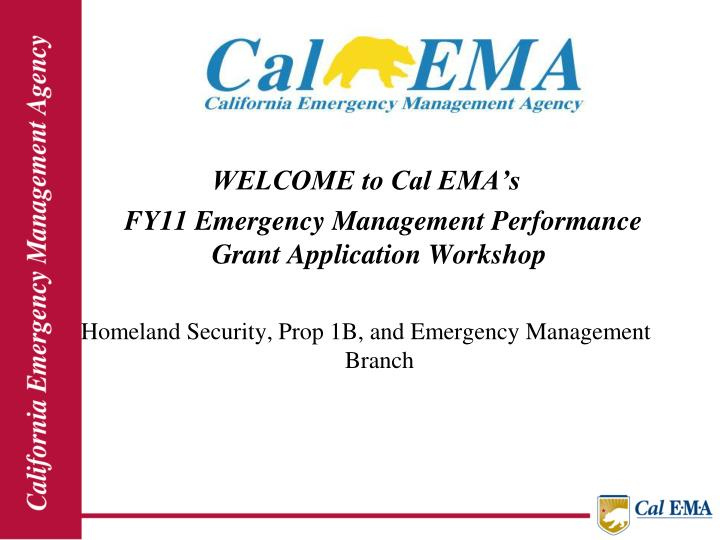 WELCOME to Cal EMA's