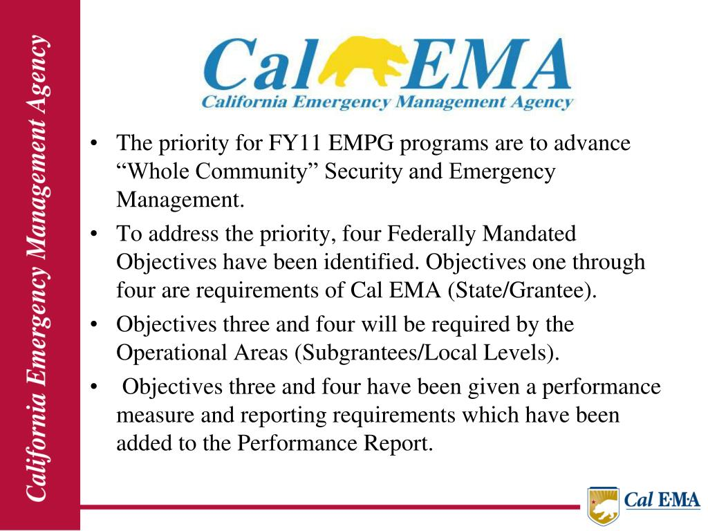 "The priority for FY11 EMPG programs are to advance ""Whole Community"" Security and Emergency Management."