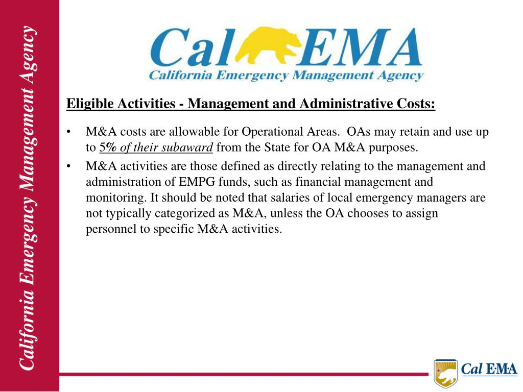 Eligible Activities - Management and Administrative Costs: