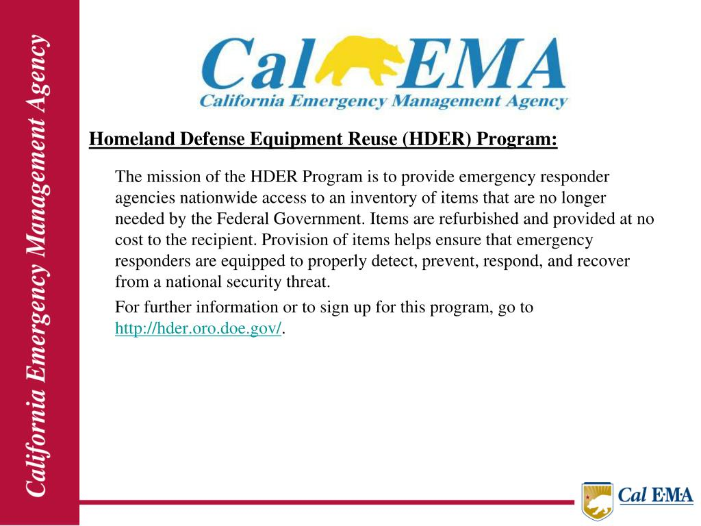 Homeland Defense Equipment Reuse (HDER) Program: