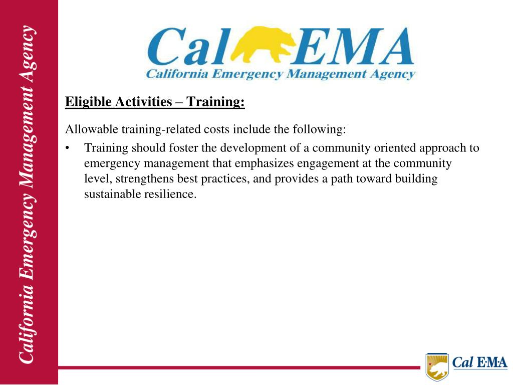 Eligible Activities – Training: