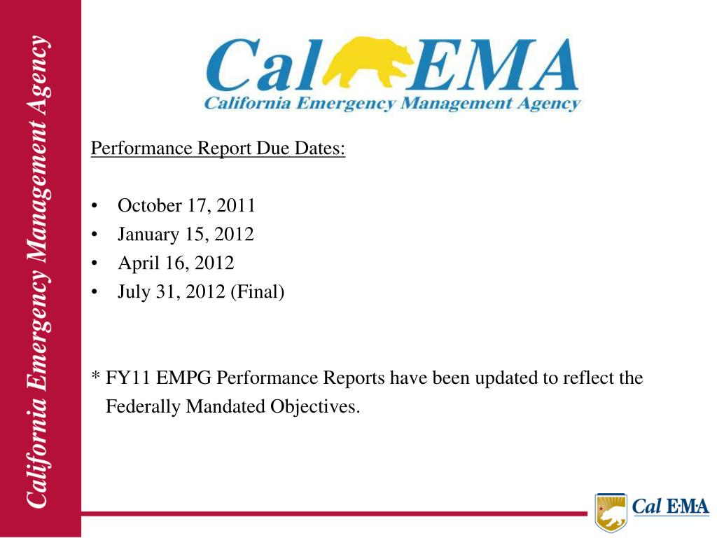 Performance Report Due Dates: