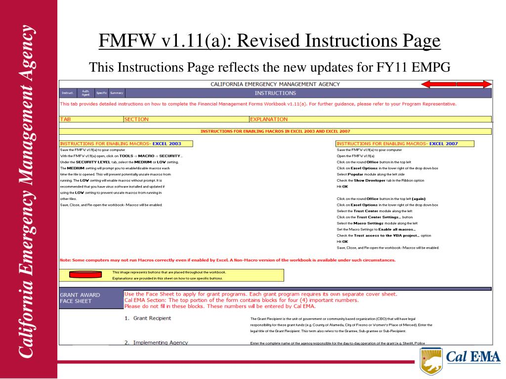 FMFW v1.11(a): Revised Instructions Page