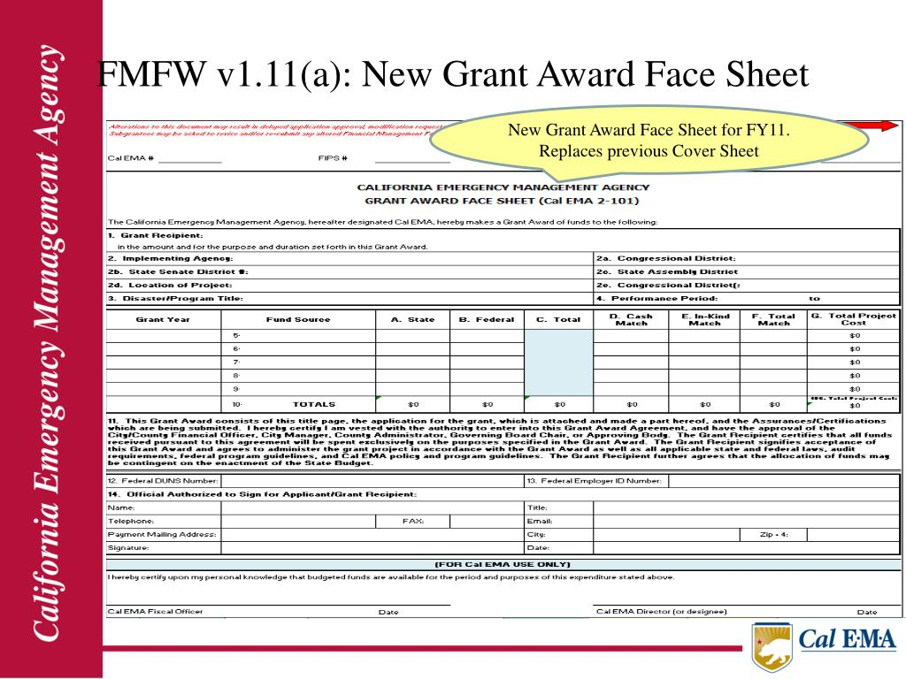 FMFW v1.11(a): New Grant Award Face Sheet