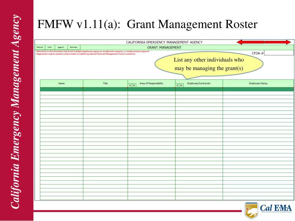 FMFW v1.11(a):  Grant Management Roster
