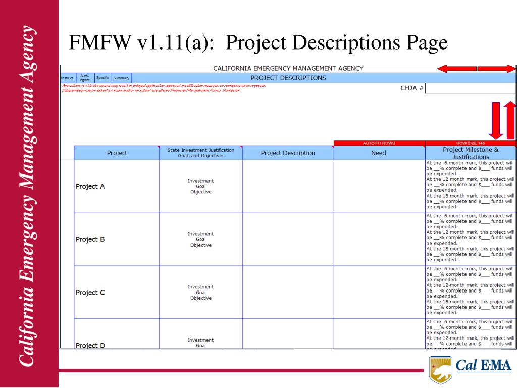 FMFW v1.11(a):  Project Descriptions Page