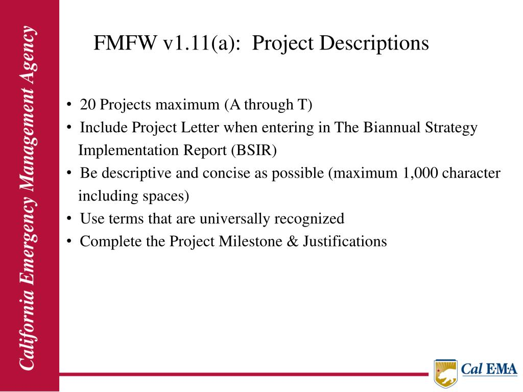 FMFW v1.11(a):  Project Descriptions