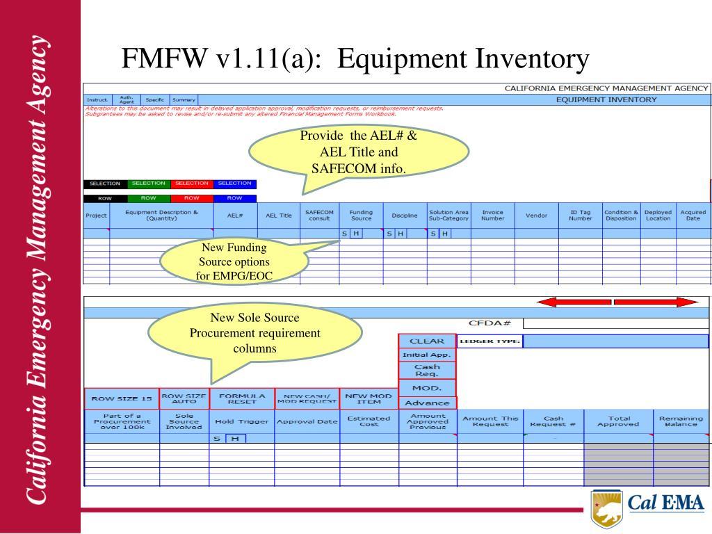 FMFW v1.11(a):  Equipment Inventory