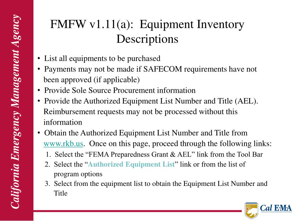 FMFW v1.11(a):  Equipment Inventory                                                          Descriptions
