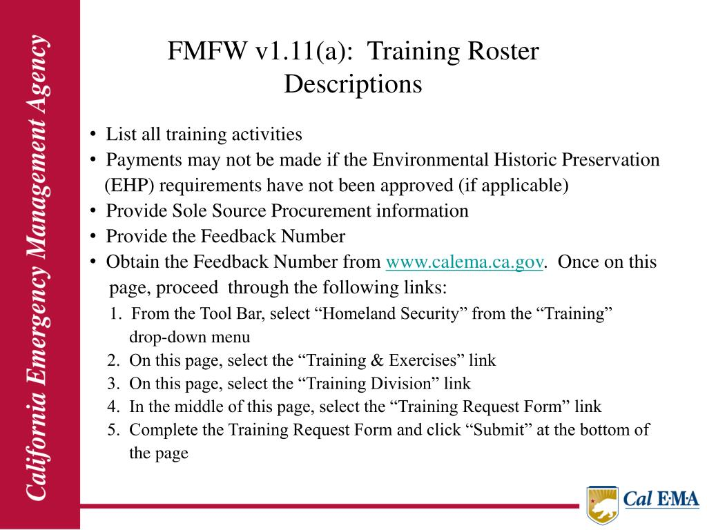 FMFW v1.11(a):  Training Roster                                                                   Descriptions