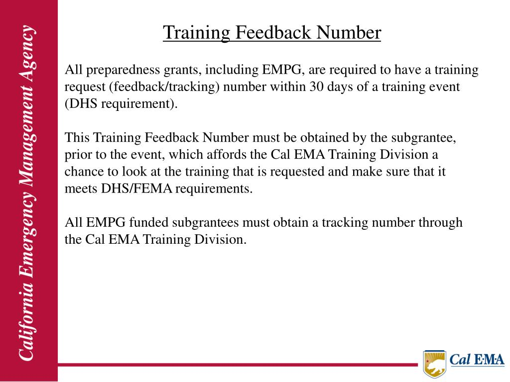 Training Feedback Number