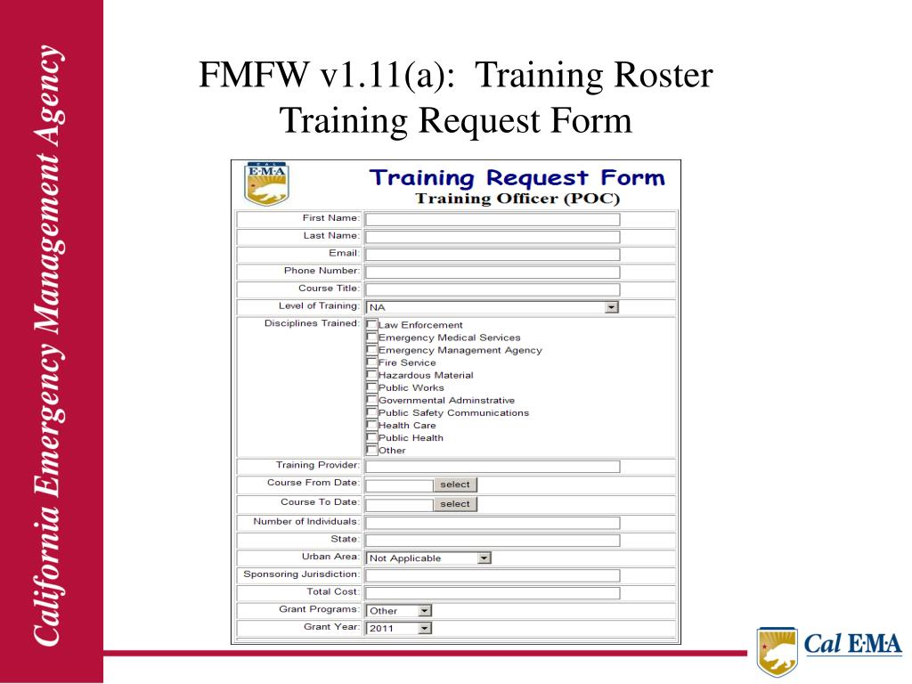 FMFW v1.11(a):  Training Roster                                                                         Training Request Form