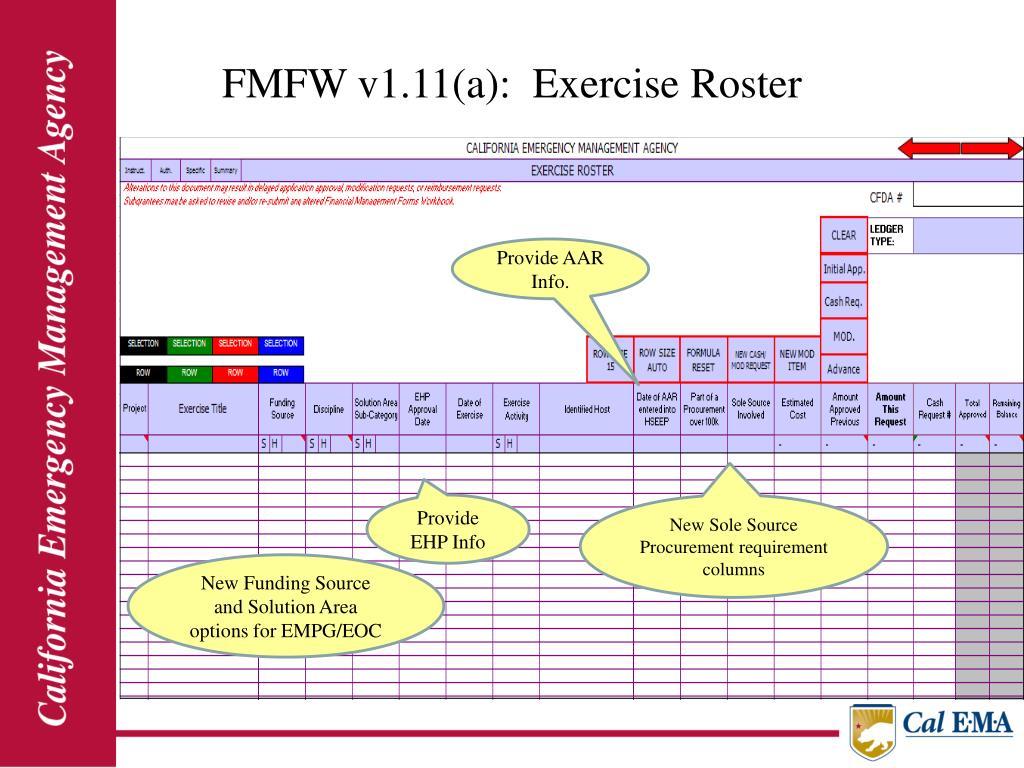 FMFW v1.11(a):  Exercise Roster