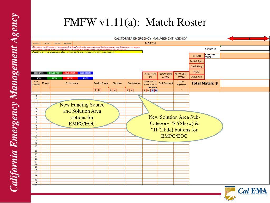 FMFW v1.11(a):  Match Roster