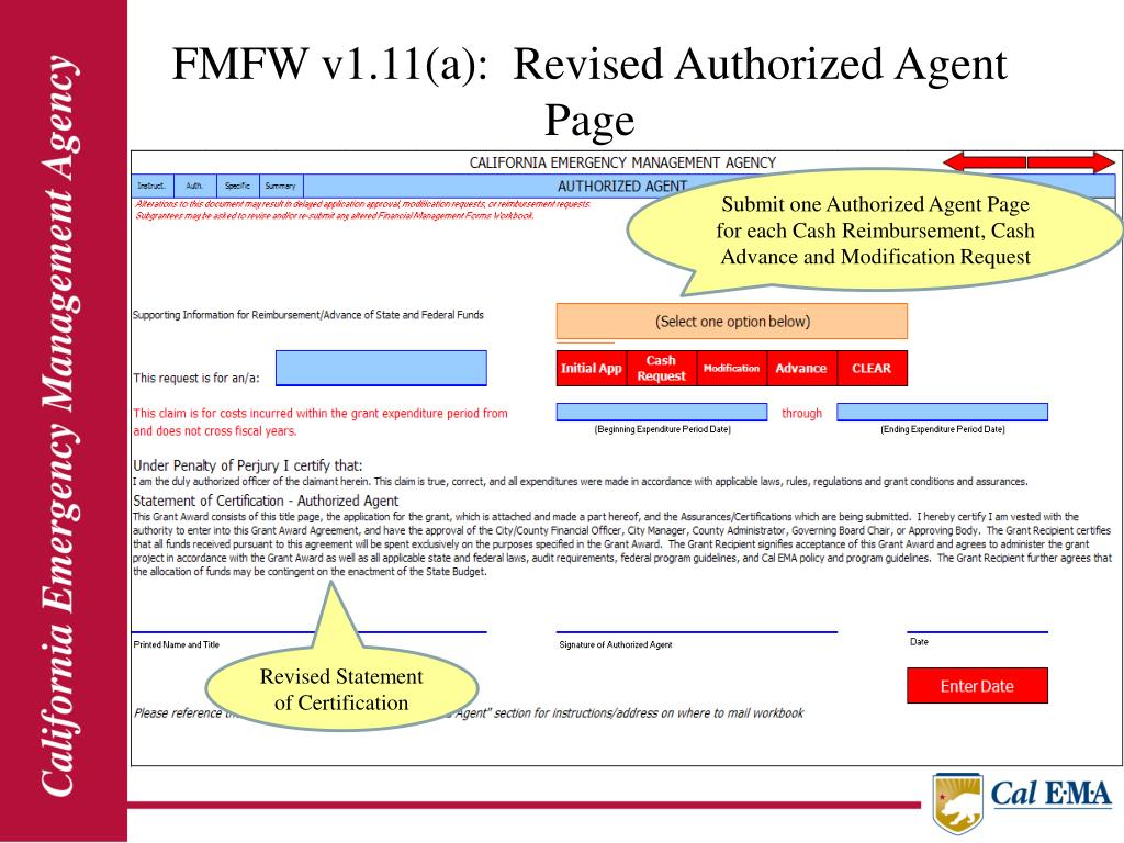FMFW v1.11(a):  Revised Authorized Agent Page