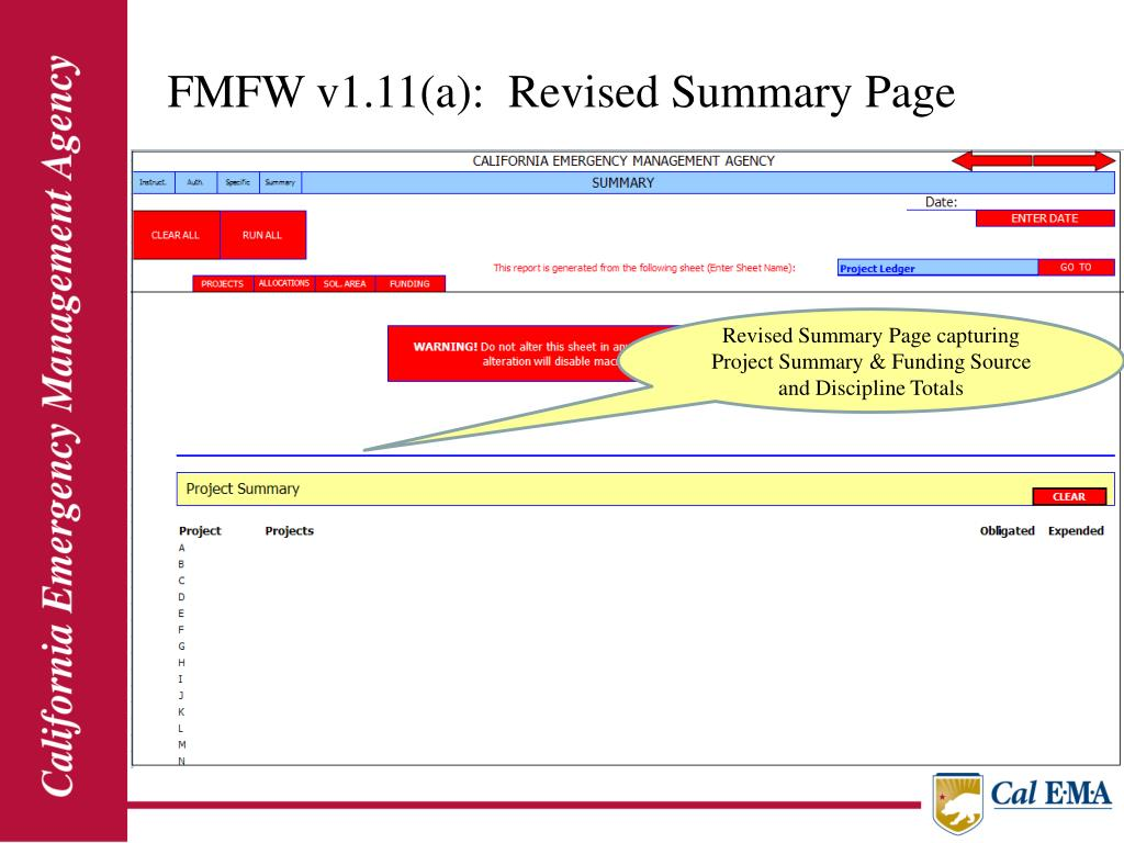 FMFW v1.11(a):  Revised Summary Page