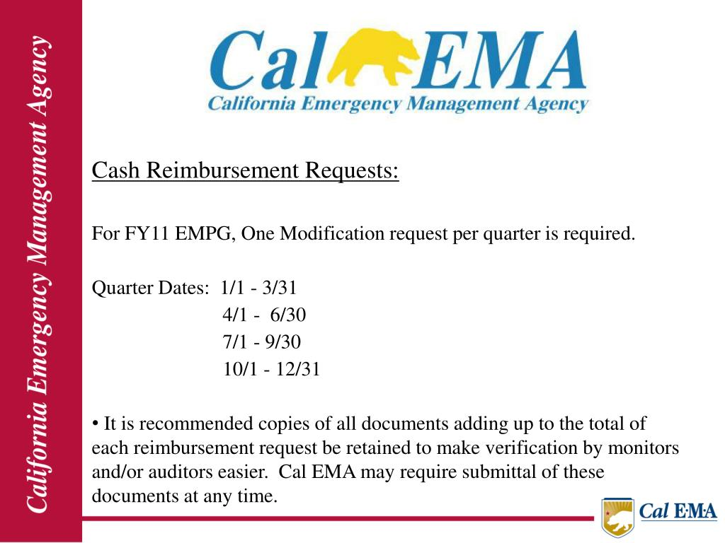 Cash Reimbursement Requests: