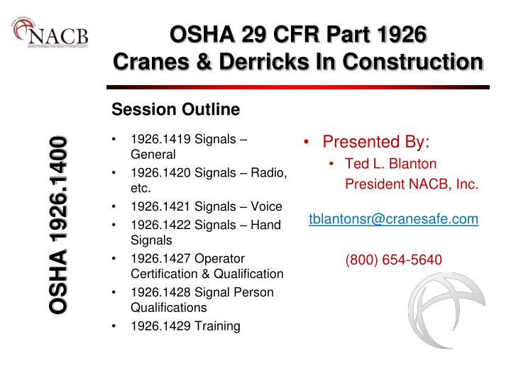 Osha 29 cfr part 1926 cranes derricks in construction l.jpg