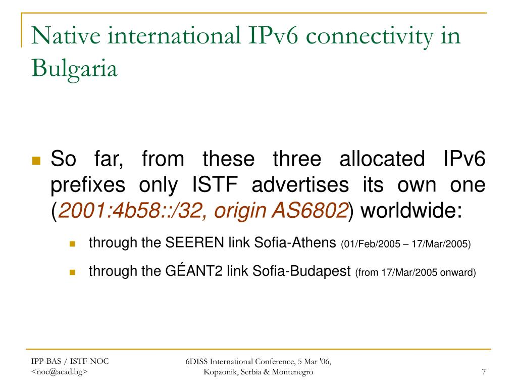 Native international IPv6 connectivity in Bulgaria