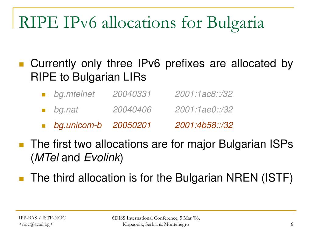 RIPE IPv6 allocations for Bulgaria