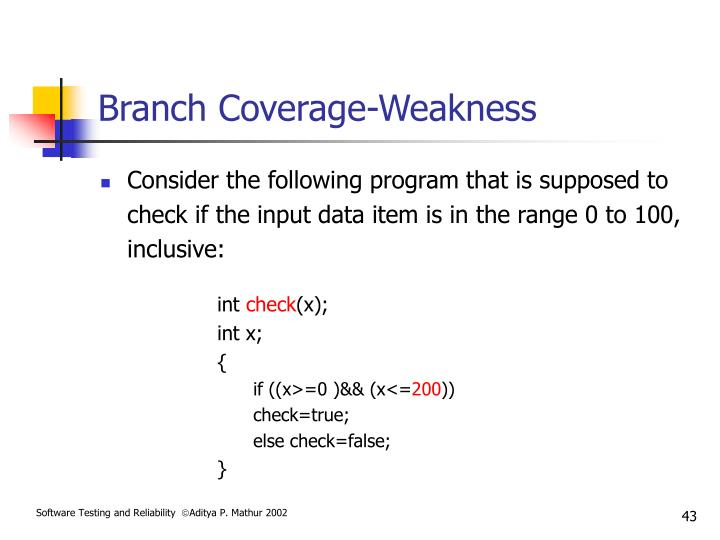 Branch Coverage-Weakness
