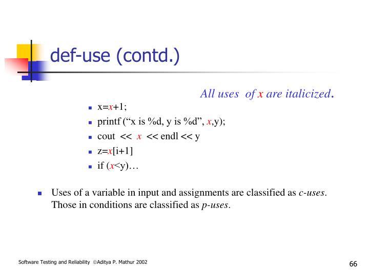 def-use (contd.)