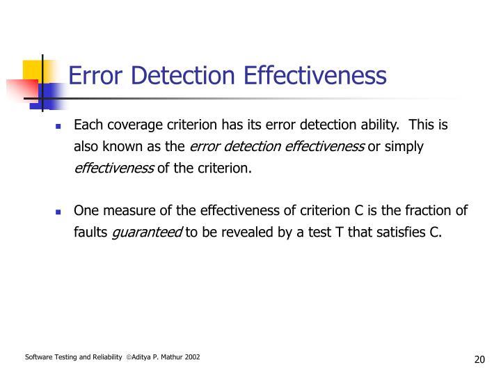 Error Detection Effectiveness